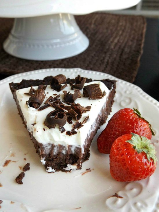 Double Chocolate Brownie Bottom Pie with Chocolate Pudding On Top sewlicioushomedecor.com