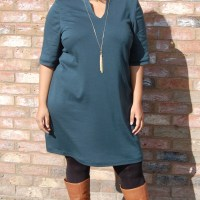 My Image Sarah Dress S1024: DIY Teal Green Ponte Knit Tunic Dress