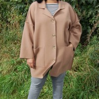 The Makers Atelier Unlined Raw Edged Coat: DIY Camel Coloured Boiled Wool Cocoon Style Coat
