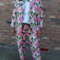 Butterick 6331 and Simplicity 2446: DIY Floral Twill Trouser Suit made using Spoonflower Fabric