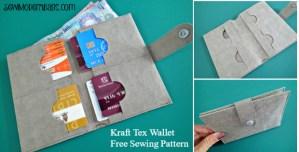Kraft Tex Minimalist Wallet by Sew Modern Bags. Free sewing pattern.