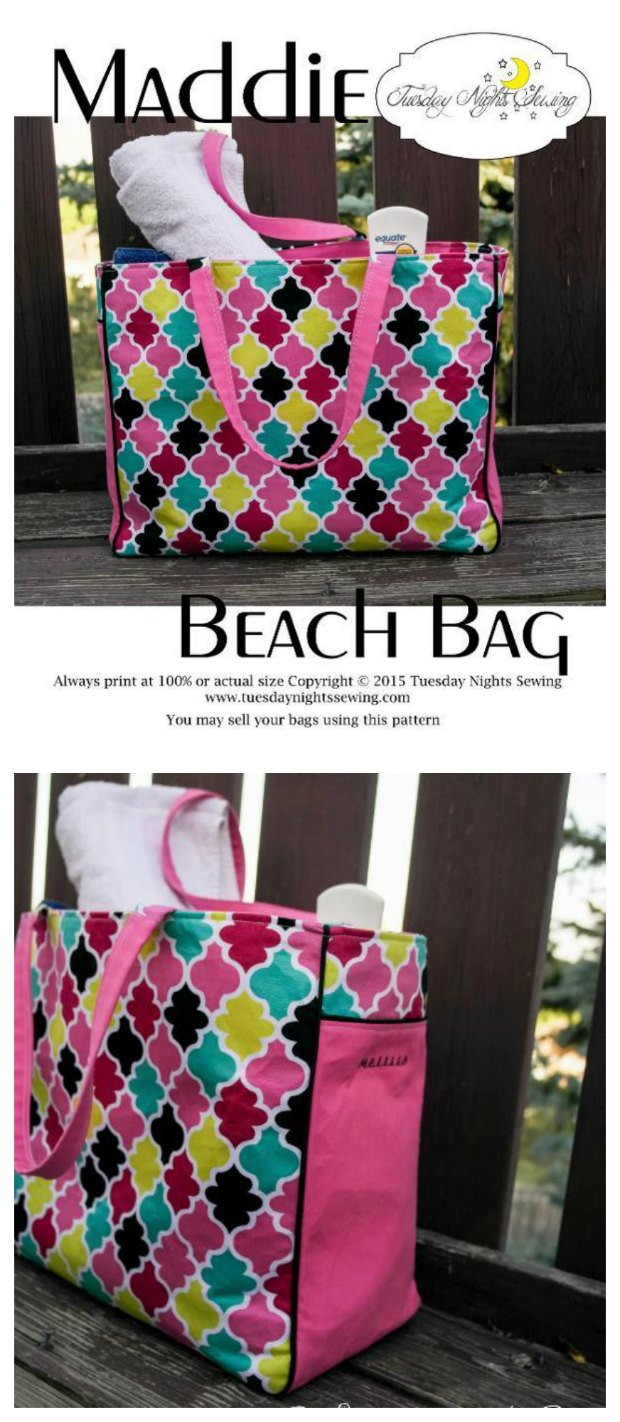 Free sewing pattern for this large and roomy beach tote bag. Has zipper pocket, magnetic snap etc. Easy to adapt pattern for your own size/pockets etc.