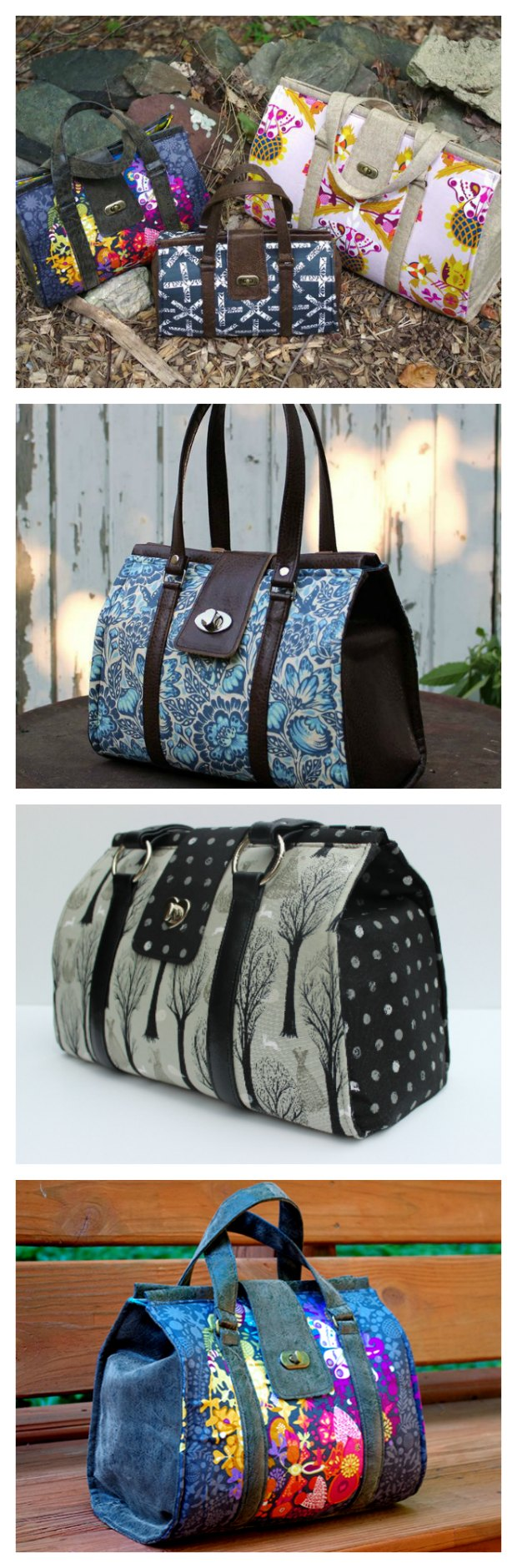 LOVE this Nora Bag sewing pattern. A modern take on the classic and traditional Doctors bag, but this innovative pattern doesn't use an expensive frame. Pattern available in 3 sizes too. One of my favorite bag patterns ever!