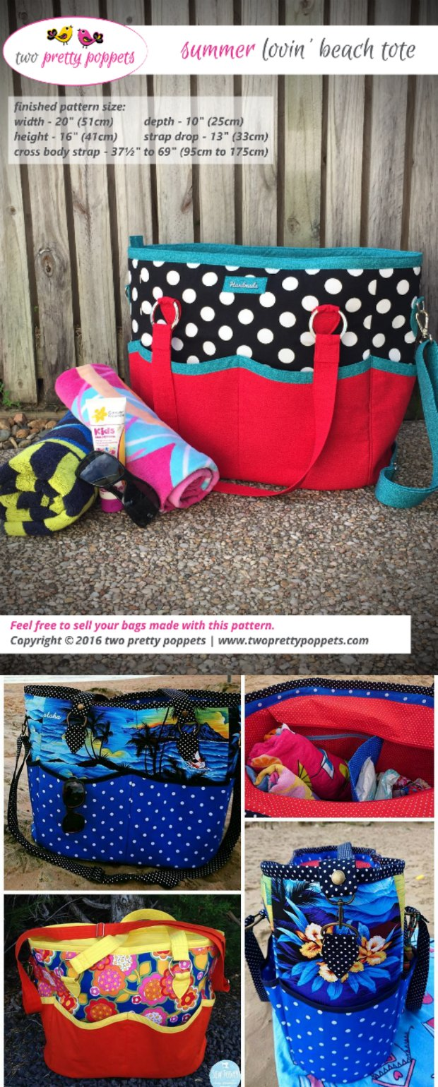 Perfect bag to take to the beach, to the pool or any time you need to take 'stuff' with you! Roomy, sturdy, plenty of pockets and storage. Great sewing pattern :-)
