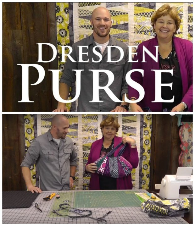 Full video tutorial for how to make this Dresden Purse using fabric scraps, or left overs from quilting. There's even a cute guy in the video too!
