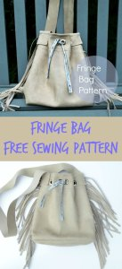 Free sewing pattern for this fringe bag. Photo tutorial is really good. I learned how to sew with faux suede and how to make fringe and install grommets too. Love my finished bag.