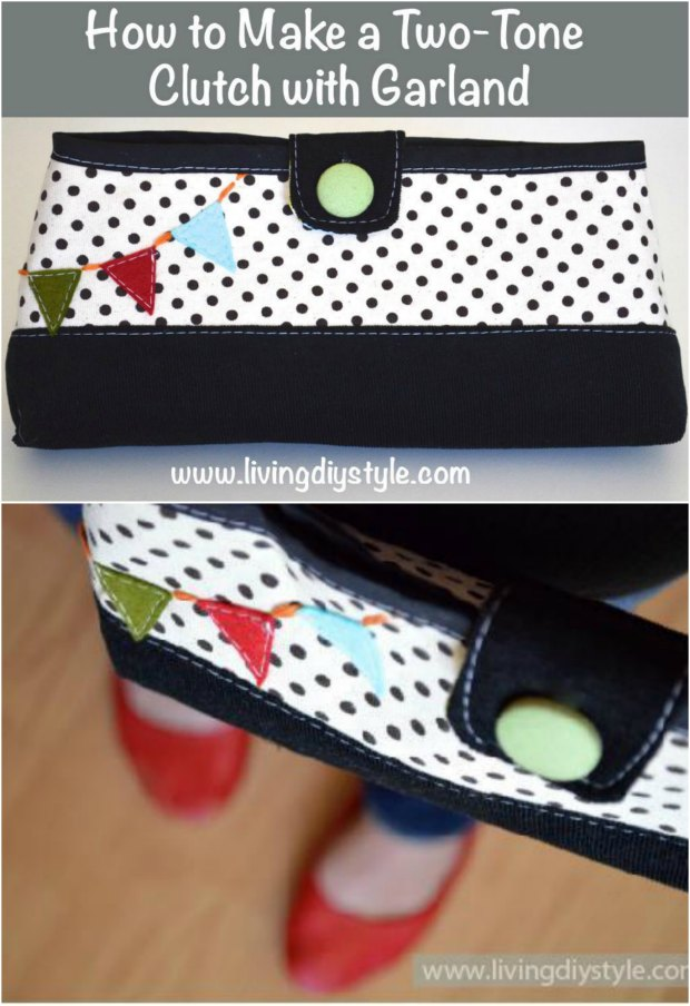 Cute clutch bag sewing pattern with bias tape around the top and really good instructions on the blog. Pattern is a free PDF to download. The little flags are a cute accent but optional of course.