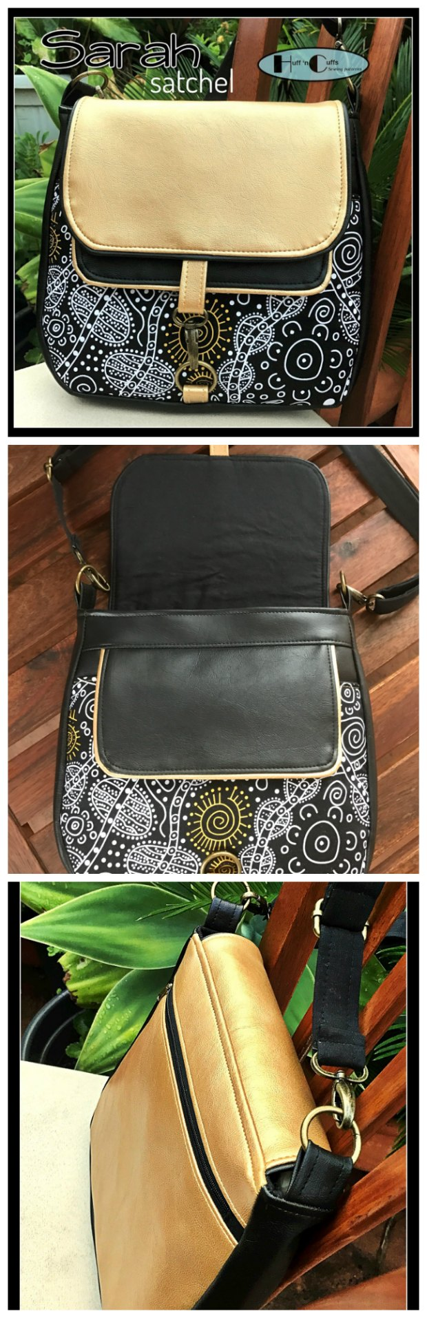 Sarah Satchel sewing pattern, works well in quilting cottons, home decor weight fabrics and vinyl or leather. A dream to sew and carry :-)