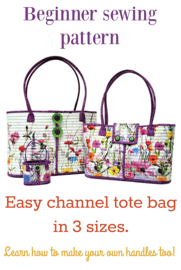 Easy to sew quilted tote bag pattern for beginners. 3 sizes.