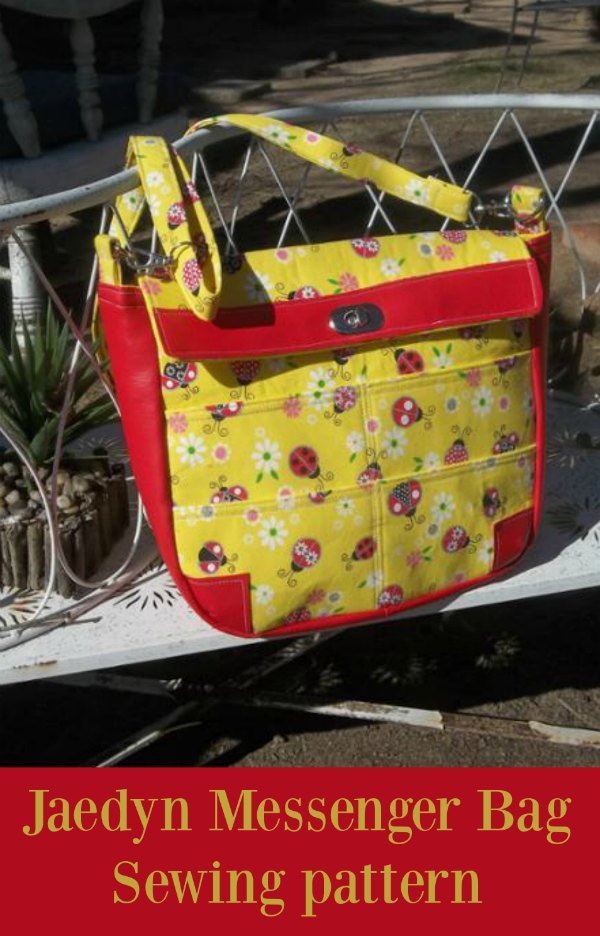 Free sewing pattern for an easy messenger bag to sew.