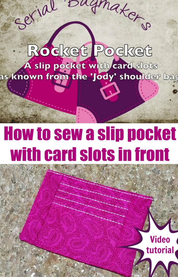 Great video on how to sew a double-duty pocket with card slots for your handbag purse sewing patterns.