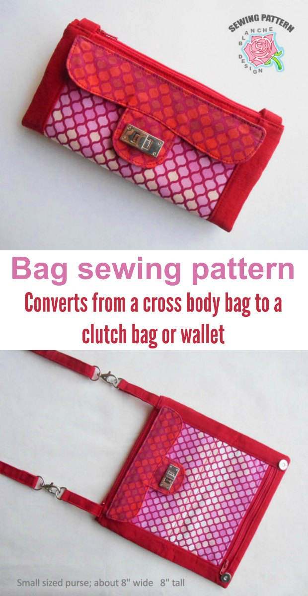 Ingenious! Bag/wallet/purse/clutch sewing pattern that converts from one to the other.