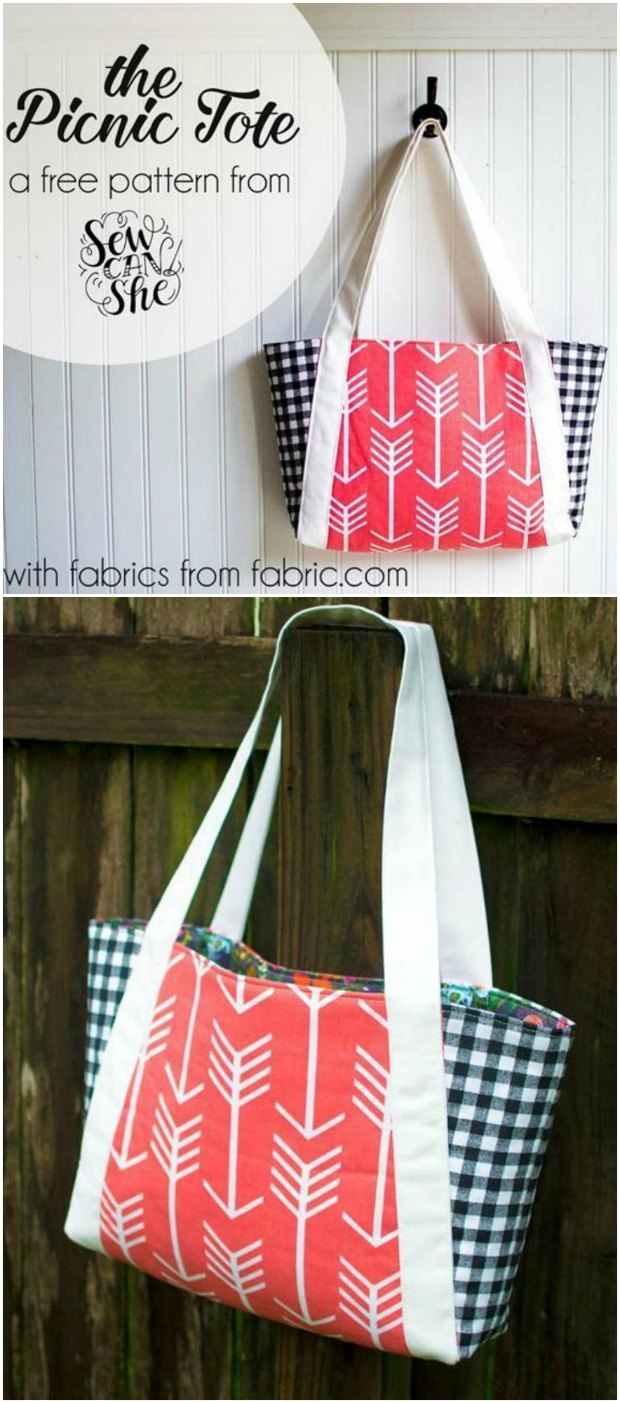 Free tote bag sewing pattern. The Picnic tote bag is ideal for a day out, is easy to sew and this pattern is free to download too. It's a sewing winner!