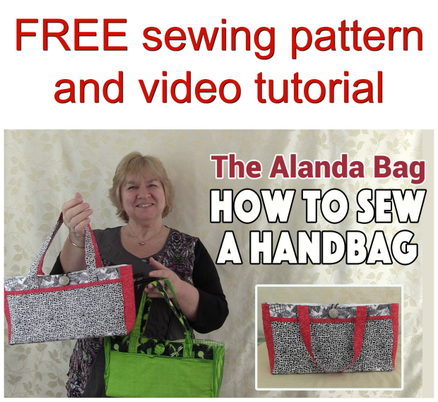 FREE sewing pattern and video tutorial for the Alanda handbag. These are ideal to run up to match an outfit and for when you don't want to be carrying around a large bag. You can slip your phone in the pocket on the front. The beauty of this bag is that you can add more pockets to the the outside and even put some on the inside using the same method as the pocket we show you on the front. Its fairly straight forward but adding the gusset can be a little tricky.
