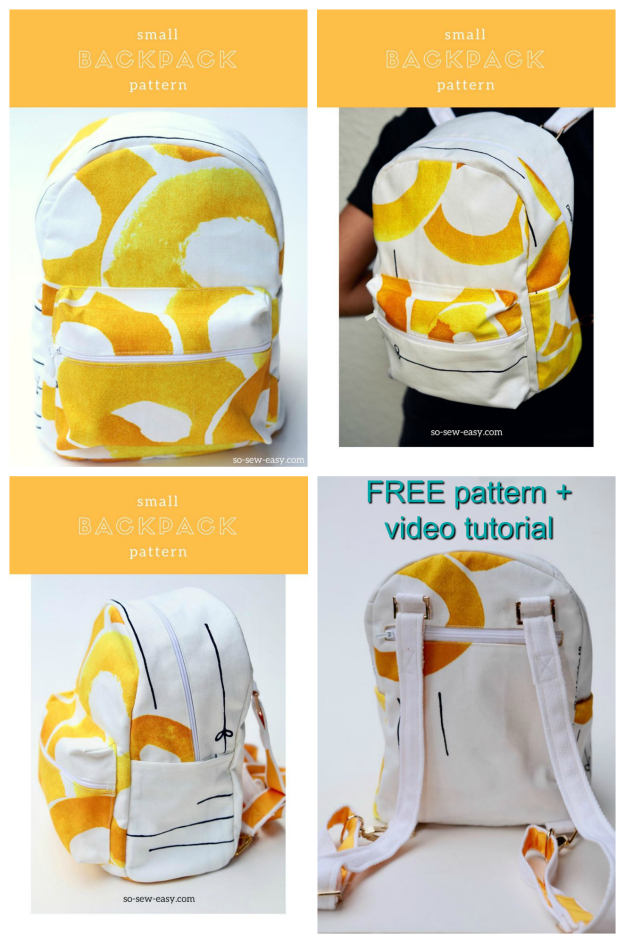 If you want to make a small backpack, then here is an excellent video with FREE sewing pattern and tutorial. This is one of the cutest small backpacks you will ever see, that can also be worn as a cross-over or cross body bag as well. Zipper's on pockets are a big thing on this backpack. There is one on the pocket in the back, one on an internal pocket and even the outside pocket has a zipper.