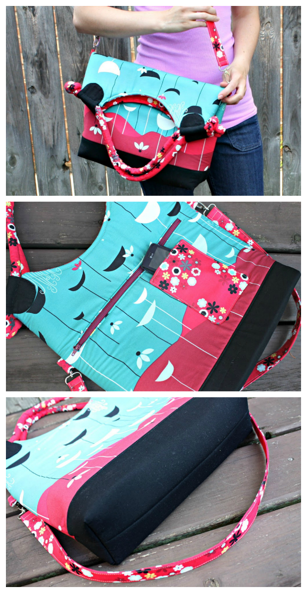 Lapin Noir Tote Bag sewing pattern. The Lapin Noir converts from a handled tote to a large carry-all, with a cell phone pocket and enough pockets inside and out to keep your most important items within easy reach. The handles are corded and covered in fabric, with pretty knots at each end, and the long strap is attached to the bag with fun swivel clips. If you're looking for a bag to showcase your favorite fabric print, this is it!