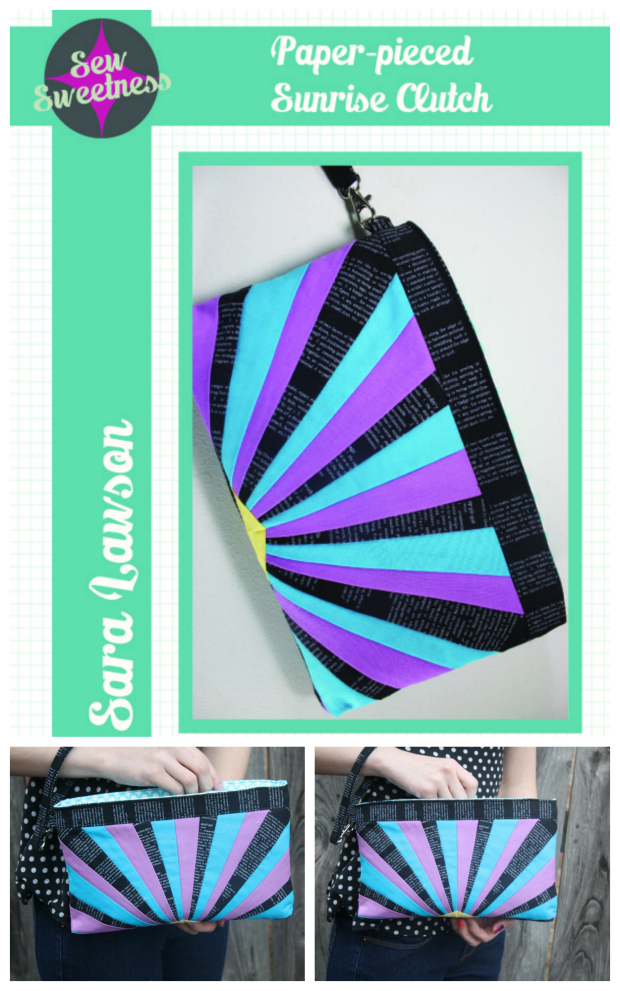 Sunrise Clutch Bag Sewing Pattern. This clutch features a great foundation paper-pieced exterior together with a recessed zipper and optional wrist strap.