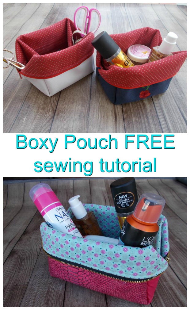 This is a great FREE sewing tutorial giving you detailed instructions on how to make this ingenious fold back Boxy Pouch. With the zipper closed you have yourself a Boxy Pouch but with the zipper open and flaps turned down you have yourself a basket. You can make these Boxy Pouches to store all kinds of things like school supplies, make-up, jewelry, medications, sewing supplies etc.