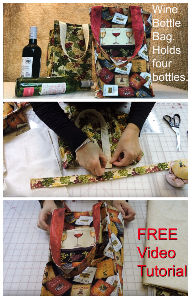 Here's an awesome video tutorial on how to make this excellent Wine Bottle Bag that can carry four wine bottles.The bag has four compartments that separate the bottles and keep them secure. You can make one for yourself so you can use it to carry wine bottles to a dinner party or special event. Or you can make a number of them and give them to friends or family as a gift.