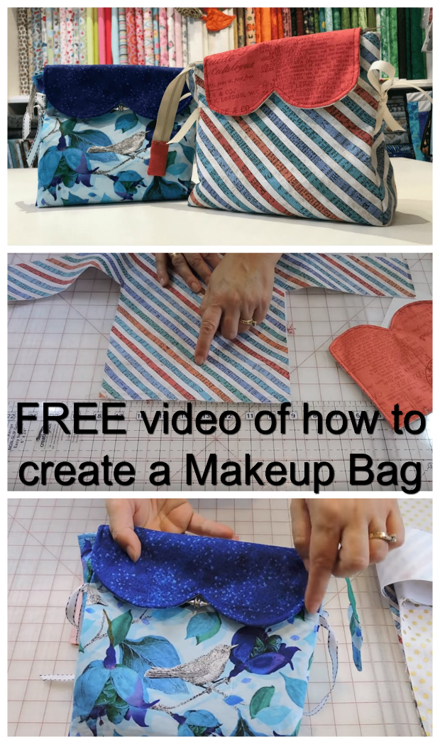 In just half an hour you can watch this FREE video on how to create your very own makeup bag with a zipper and side ties. You can use the bag for makeup or for anything else you like.