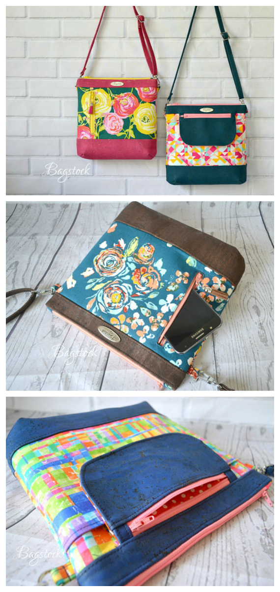 Here is the very beautiful Jasmine Sling Bag which is the perfect bag for all your daily needs. The downloadable PDF pattern from Bagstock Sewing Patterns gives you the choice of making two versions of the Jasmine Sling Bag. You can make the unique zippered flap version and/or the vertical zipper version.
