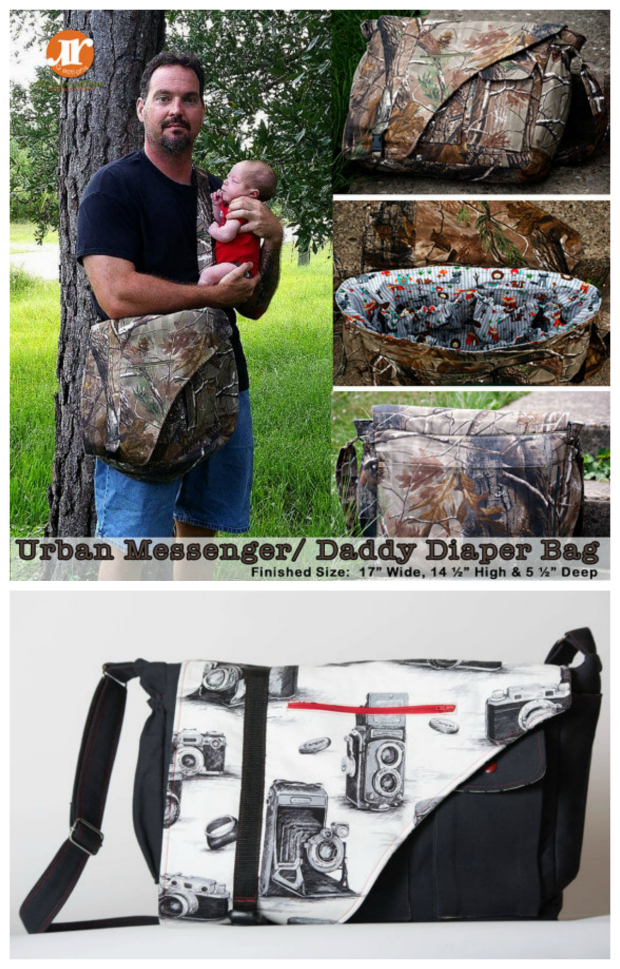 The Urban Messenger/Daddy Diaper bag is a versatile pattern that offers options to make the perfect Men's everyday messenger bag or turn it into the ideal Daddy diaper bag. The pattern includes 10 pocket options allowing you to completely personalize the bag to suit any man.