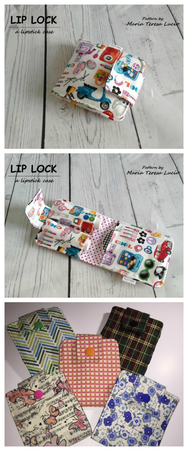 "If you are just starting out in sewing then this could be the perfect project for you. You can make this lipstick holder in no time at all and it is easy to make. The Lip Lock case can be made using scraps of fabric with the finalised measurements being just 4"" wide by 4"" high. You can make several of these adorable lipstick holders so that you always have your favorite tubes on hand. And if you want you can make some to give away as gifts or you could even sell them."