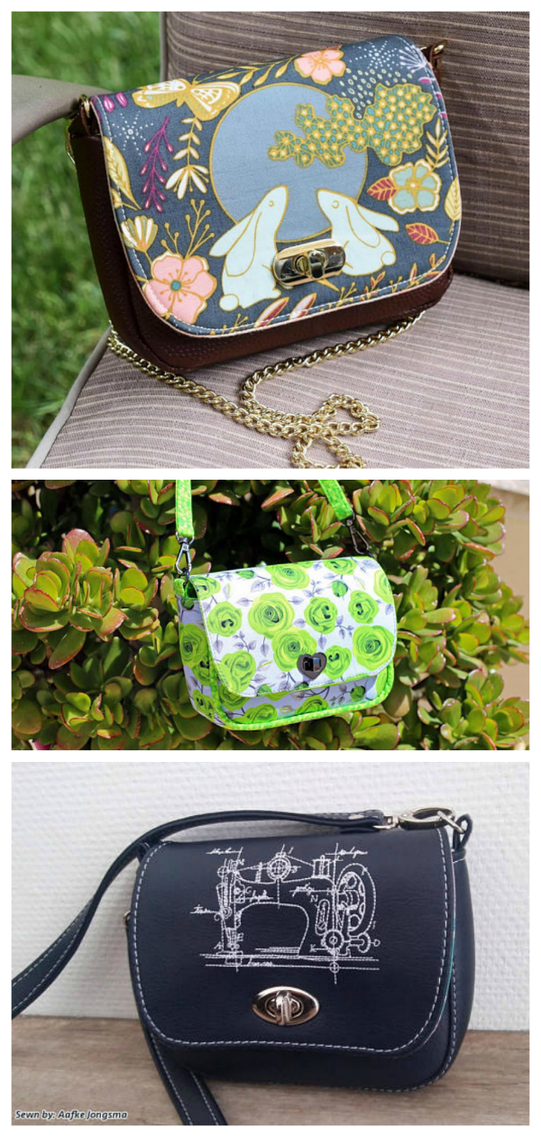 """If it is a miniature bag that you are looking for then we have the perfect pattern here for you. The Milan Mini Bag is both adorable and mini standing only 5"""" high, 6"""" wide and 1 3/4"""" deep. It is the perfect bag for women and little girls alike! Wear it comfortably across your body or over your shoulder. The Milan Mini Bag is made with foam interfacing and has a fully lined, zippered interior pocket, while the turn lock keeps your valuables safe. This is an awesome pattern aimed at the intermediate bag maker as the curves can be a little tricky."""