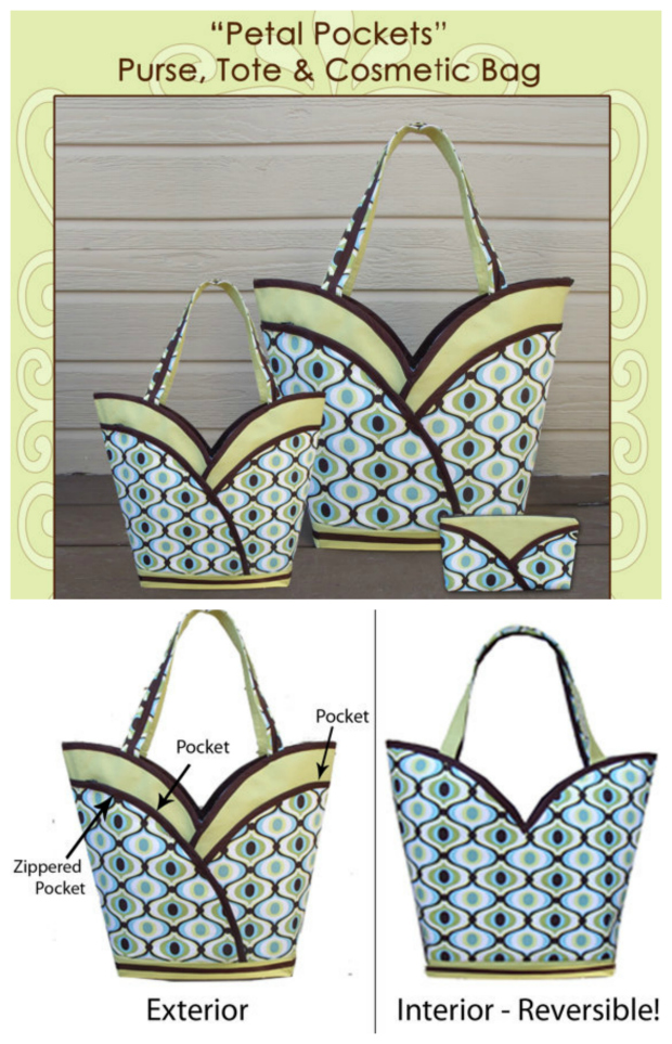 """Look at this beautiful-looking Tote Bag that comes in two sizes, is reversible and has a matching cosmetics bag as well. The Petal Purse Tote Bag has loads of storage space. It has four slip pockets, two zippered """"petal"""" pockets on the exterior and a nice roomy interior."""