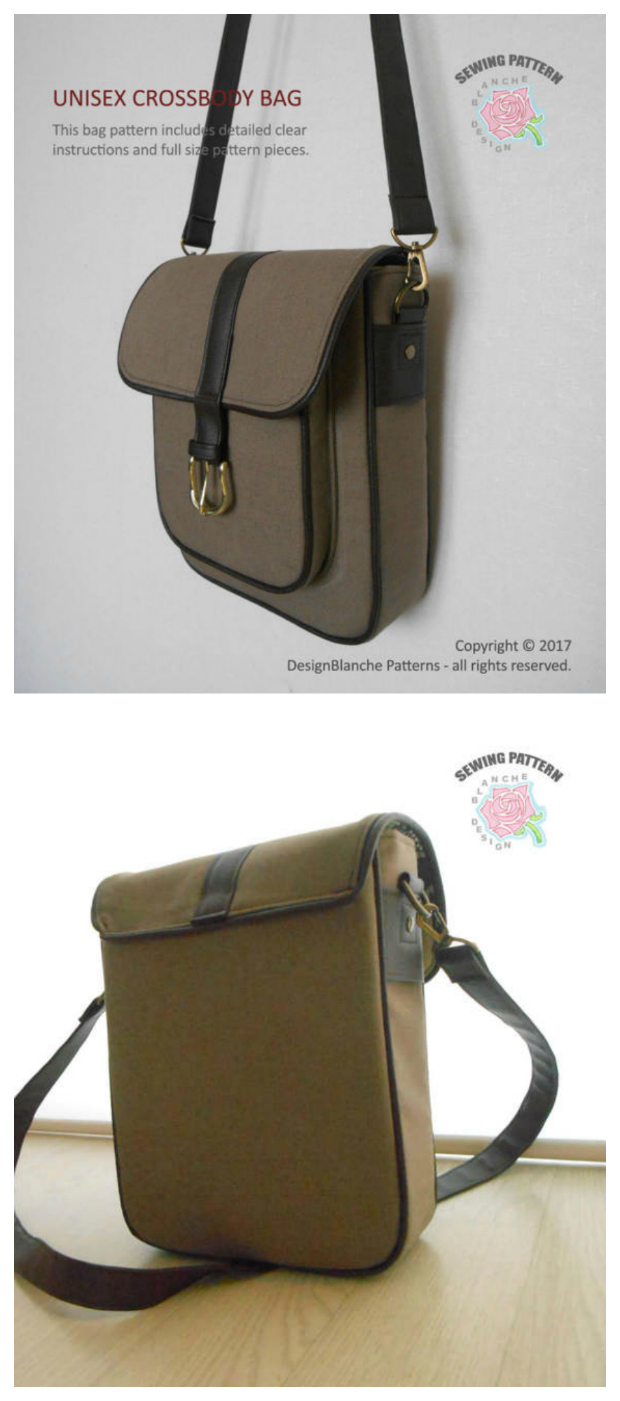 """Here's a great crossbody bag that can be used by everyone as it is a unisex bag. The Unisex Crossbody Bag has a gusseted pocket at the front, closed with a flap and fully lined, with an inner zipper pocket and slip pocket. The pattern is easy to use and will make you a bag that is approximately 8"""" (20.3cm) wide, 10.5"""" (26.7cm) tall and 2 ¾"""" (7cm) deep with a 61'' (155cm) adjustable strap. The instructions for this pattern are aimed at confident beginners with some experience."""