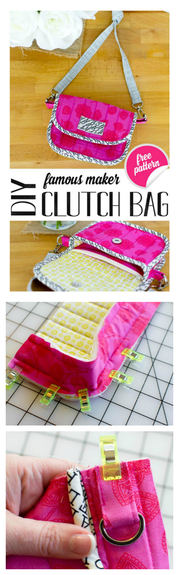 "Here is yet another FREE pdf pattern brought to you by Sew Modern Bags. This one is a little clutch bag pattern, which has a zipper pouch inside this little bag. You can fit an iPhone in the little pocket behind the integrated zipper pouch, and then you'll have a nice sized compartment in front of the zipper pouch for keys, lip gloss and a little notebook. If you want your clutch bag can also carry cards and cash in the zipper pouch. The approximate size of the finished bag will be 7'"" wide by 4 1/2"" tall."