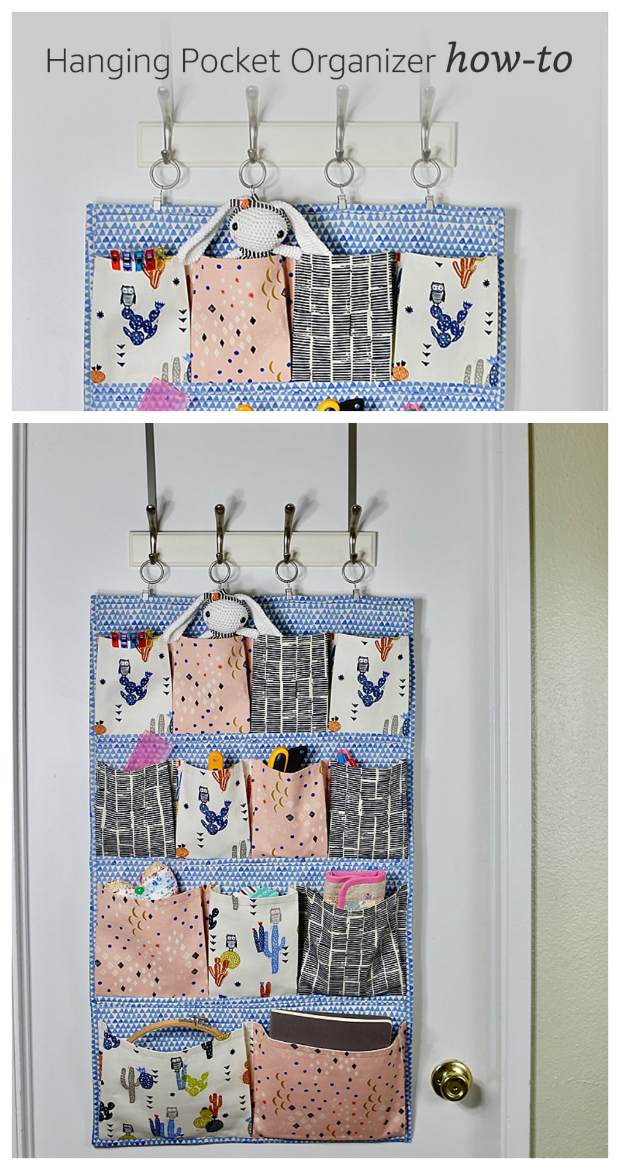 "So we have here today a FREE tutorial and pattern on how to make a super fun wall pocket. Making this Hanging Pocket Organizer means you will be able to use it to re-organize all those little bits and pieces that you have laying around the house. The finished size of the organizer is approximately 21"" wide by 36"" tall."