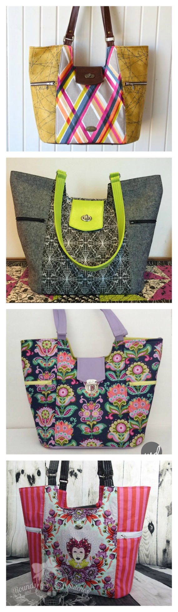 "If you want to make a very large bag then The Mimosa Market tote is the bag for you. It is 13.5"" wide by 13"" high by 8"" deep and has the following features: It has 2 large exterior side zipper pockets A large oval base An optional tab closure with instructions for a twist lock but can easily be substituted with a different closure The vinyl accents could easily be replaced with fabric - the instructions will apply to both methods The interior of the bag comes with 2 large slip pockets and an optional removable false bottom to give the bag extra support at the base."