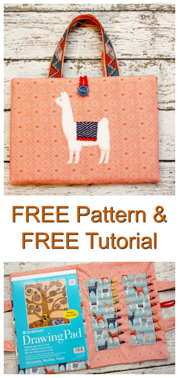 Here's your chance to use this wonderful FREE pattern and tutorial to make this awesome Fluffy Llama Coloring Caddy. You'll love this fun and easy to sew project. This cute Coloring Caddy has a pocket for paper or a coloring book, and there are also two separate sections to hold plenty of crayons. Your child or grandchild can take their caddy on a road trip, to a restaurant or even on an adventure.