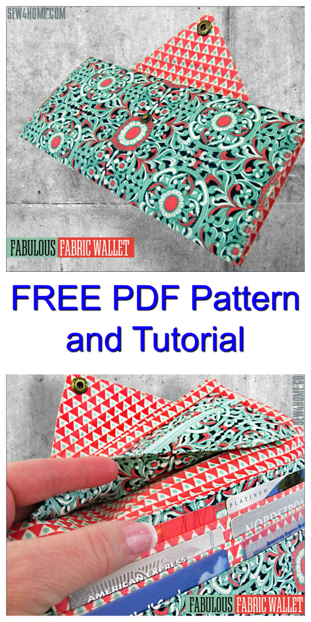 The Fabulous Fabric Wallet has two bill/note pockets, six card pockets & a zippered coin pocket. This is one of the loveliest Wallets that we have ever seen on our Sew Modern Bags website. And as a huge bonus, the pattern is FREE and there is a FREE tutorial.