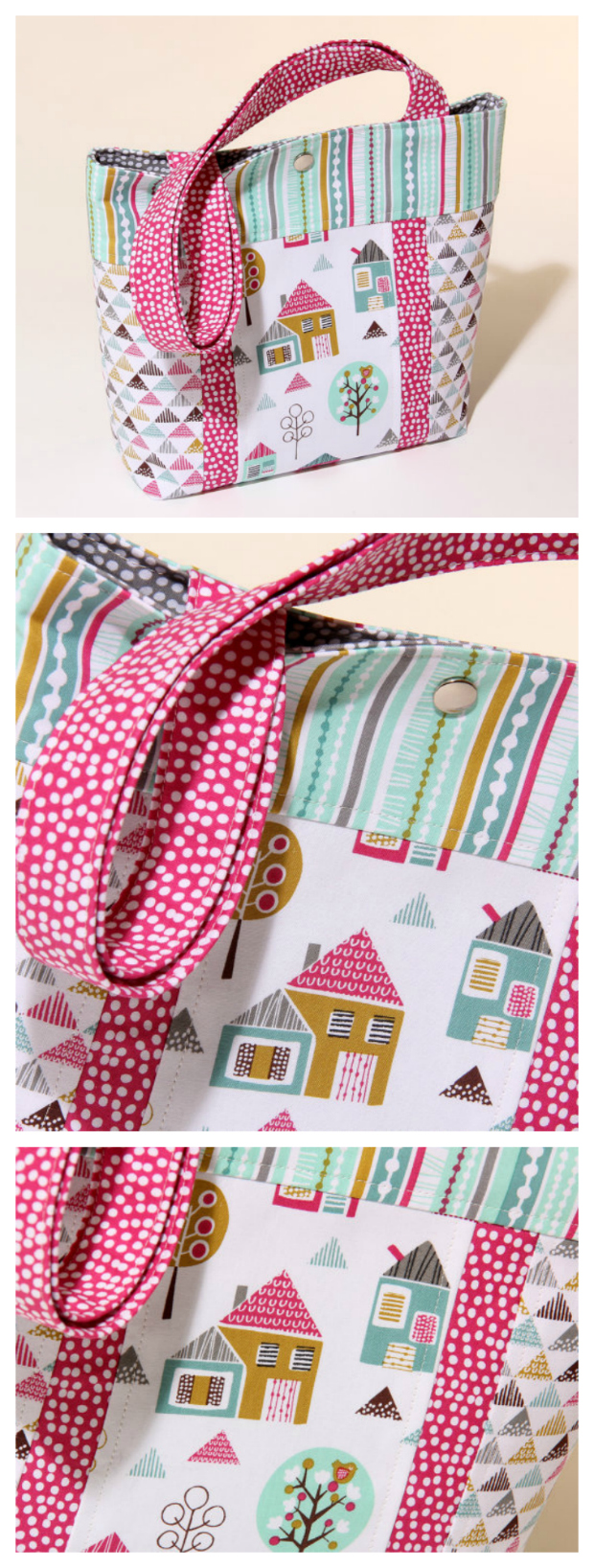 Here is the perfect gift idea for a little girl. Make this cute mini tote with modern, fun fabrics. It's quick to sew, is fully lined and has a flat base for extra space. The Petite Street Childs Tote Bag pdf pattern is aimed at the confident beginner sewer.