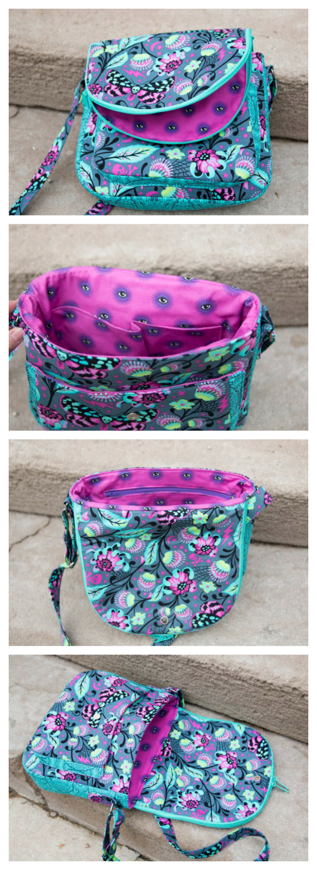 The Satellite Bag pattern features a 3-dimensional front pocket. While the lining features several pockets, the bag comes together quickly and can be made in your material of choice, making it the perfect cross-body bag for your next outing. This medium sized bag has lots of interesting details but is still a relatively quick and easy sew.