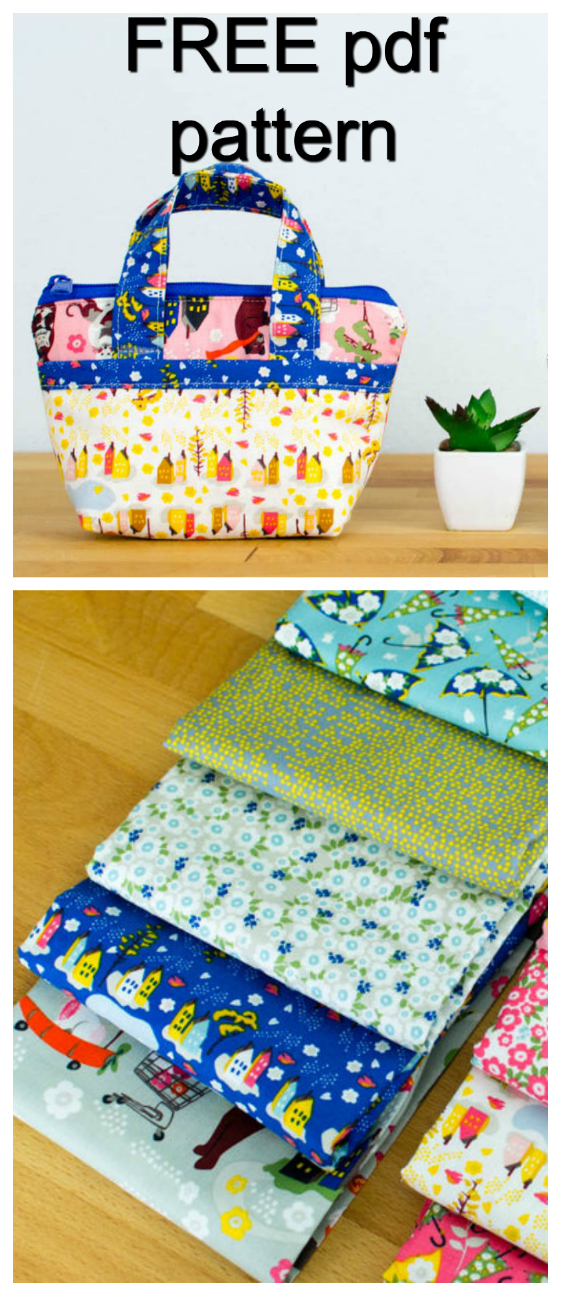 Here is a great FREE pdf pattern, where you can use lots of your favourite fabric scraps to make this amazingly cute tiny tote bag.