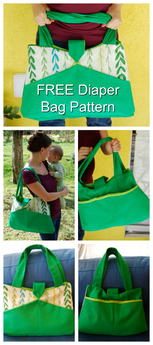 Here's a great sized diaper bag where the pattern is FREE. The Detour Diaper Bag is an easy project to make and you end up with a really stylish bag. This cute bag is not too big but it does hold all those essential baby gear items a mum needs.
