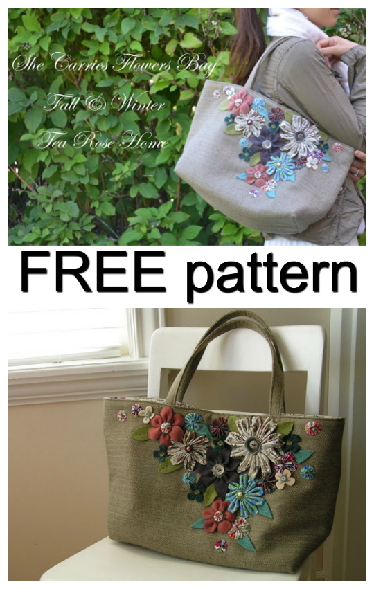 "If you love the idea of a basket style handbag then we have a beauty here for you. And as an added bonus the pattern and tutorial for the ""She Carries Flowers Purse"" is entirely FREE."