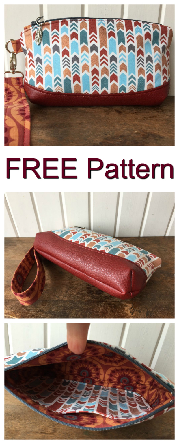 The Clematis wristlet is a great FREE pattern that is suitable for a beginner sewer. With some practice, the wristlet can be completed in about one hour.