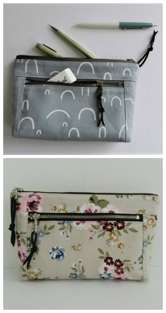 This is the most popular pattern for this designer. The Devon Zipper Pouch comes in two sizes - small and large - and each has a front zipper pocket as well as a zipper closure.