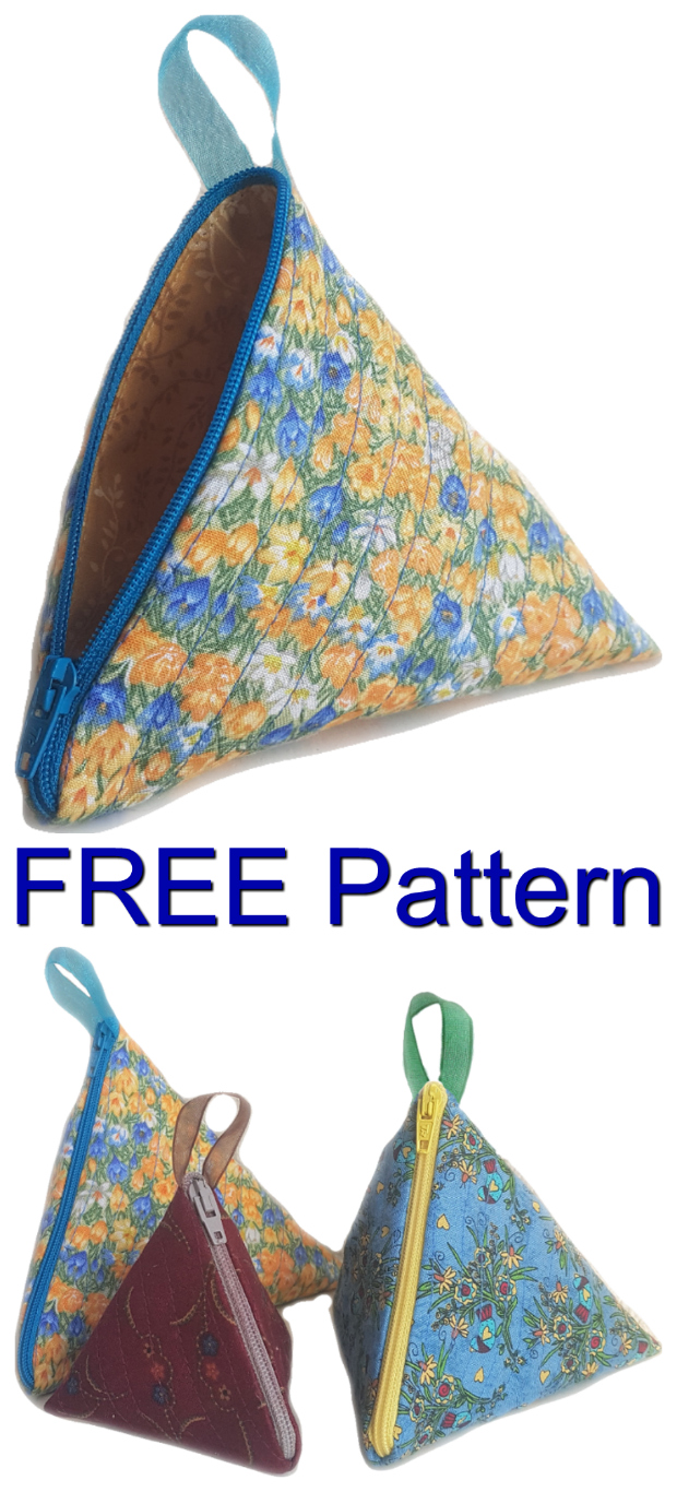 Here's a quick and simple FREE pattern for you to work on, to make this pyramid style triangular zip pouch. These little-zipper pouches are easy to make and as an added bonus they come in 3 different sizes. Once you have made one, it is easy to change the size and make the next one. The small one is ideal for a coin purse in your handbag or to keep in the car, while the larger ones could easily be used to keep many different types of sewing accessories such as wonder clips, safety pins, etc.