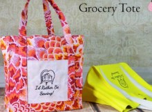 Strong grocery tote bag sewing pattern for free, with free video tutorial.