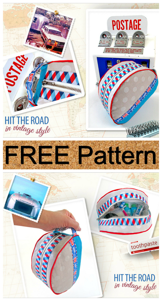 Here's an absolutely awesome FREE pattern for this Airstream inspired Zippered Toiletry Bag.