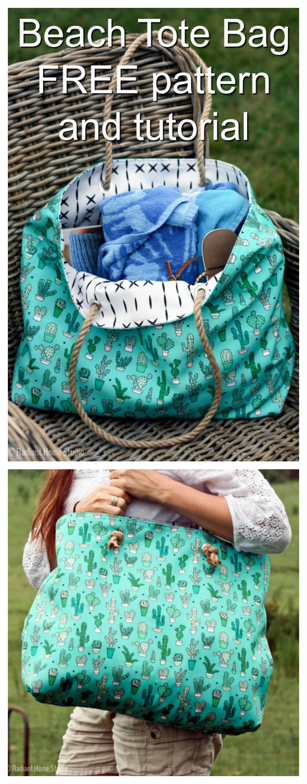 Having a day at the beach is always a great idea. Well, now you can make yourself this wonderful Beach Tote Bag with this FREE pattern and tutorial. The bag is a simple tote bag, with one full-width pocket that is divided into 3 sections.If you want more pockets, just repeat the pocket directions for the other side of the bag. The fun rope handles are simply threaded through grommets and knotted. Detailed directions for attaching the grommets have been included but if you want a simple alternative you can use buttonholes instead.