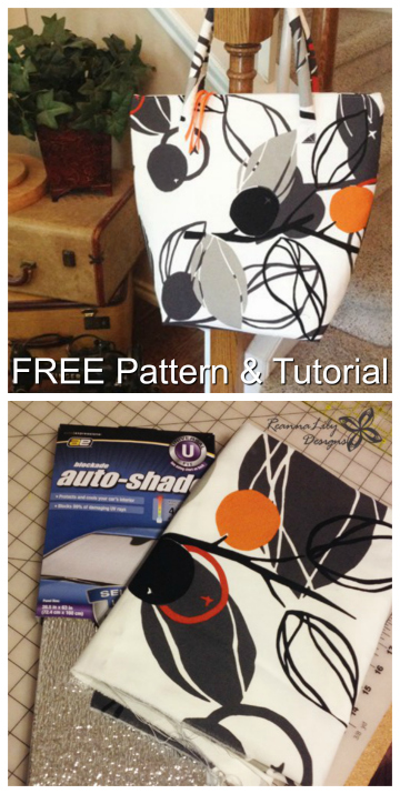 "Here's a unique FREE pattern and tutorial for an Insulated Grocery Tote Bag. Why is it unique? Because the pattern designer has used a ""reflective car shade"" as the insulation part."