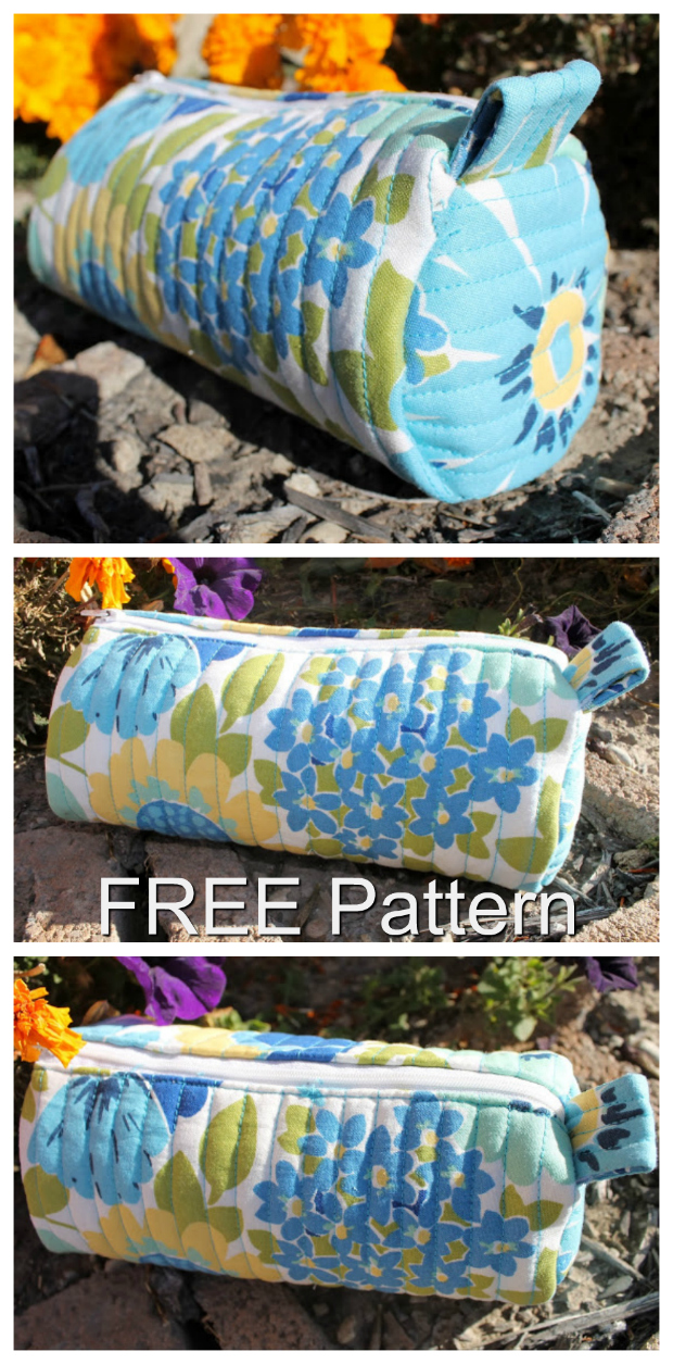 """The Quilted Barrel Pouch is a quilted bag that has been designed specifically for cosmetics. It's about 7"""" long, which is big enough tohold all of your traveling cosmetics and compact enoughto fitnicely in a purse, without taking up too much space. The contrasting colored thread used to form the vertical quilted lines really makes the design on the fabric stand out.A small strap was added just for you to hold onto when opening the pouch."""