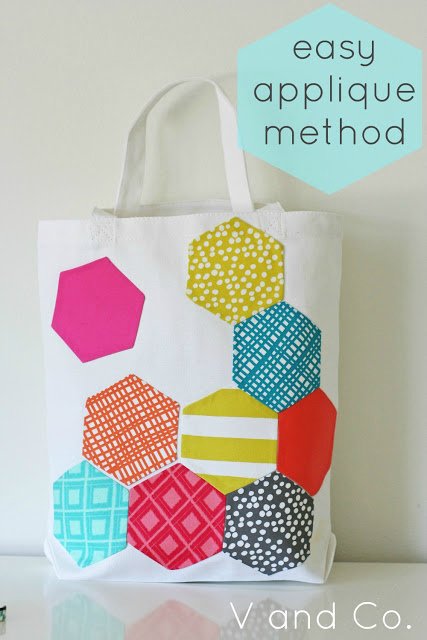 The Hexagon Tetris Tote Bag pattern & tutorial are FREE. You must then decide whether to make a basic canvas Tote Bag or buy a basic one from a shop like Walmarts. Then you just have to decide how many hexagons you are going to make, in which colors, in which sizes and whether you will be appliqueing them to one or both sides of the Tote Bag.