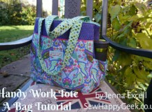 "This sewer and pattern designer used to write occasional patterns for the Sewing World Magazine, so you can be assured her FREE pattern and tutorial to make the ""Take It To Work Tote Bag"" will be one of the best. This is, at heart, a simple tote bag made even more functional by special pockets for the items you carry around your busy life."